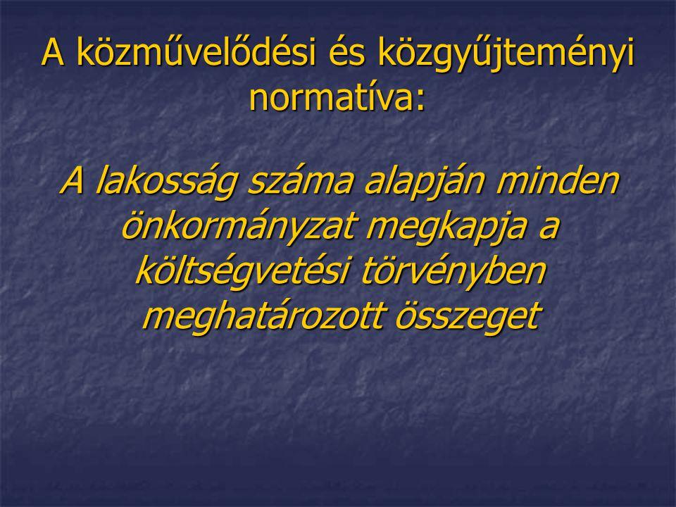 A közművelődési és közgyűjteményi normatíva: A lakosság száma alapján minden önkormányzat megkapja a költségvetési törvényben meghatározott összeget