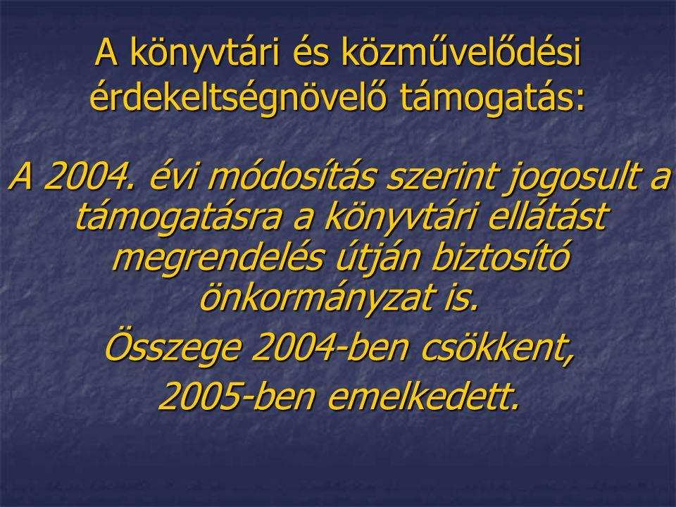 A könyvtári és közművelődési érdekeltségnövelő támogatás: A 2004. évi módosítás szerint jogosult a támogatásra a könyvtári ellátást megrendelés útján