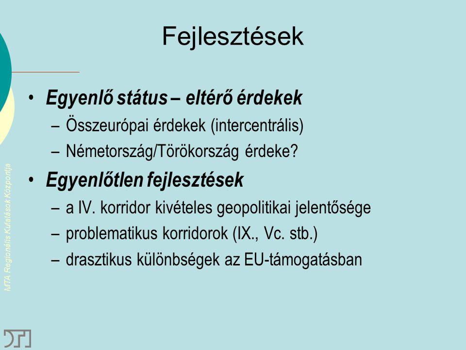 MTA Regionális Kutatások Központja Fejlesztések Egyenlő státus – eltérő érdekek –Összeurópai érdekek (intercentrális) –Németország/Törökország érdeke?