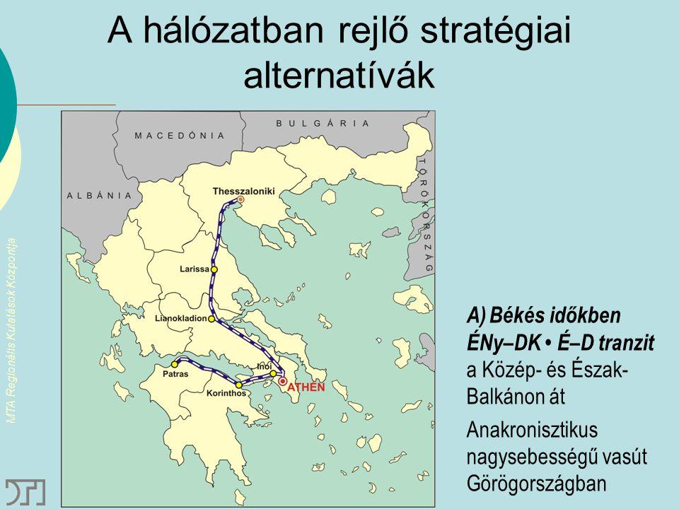 MTA Regionális Kutatások Központja A hálózatban rejlő stratégiai alternatívák A)Békés időkben ÉNy–DK É–D tranzit a Közép- és Észak- Balkánon át Anakro