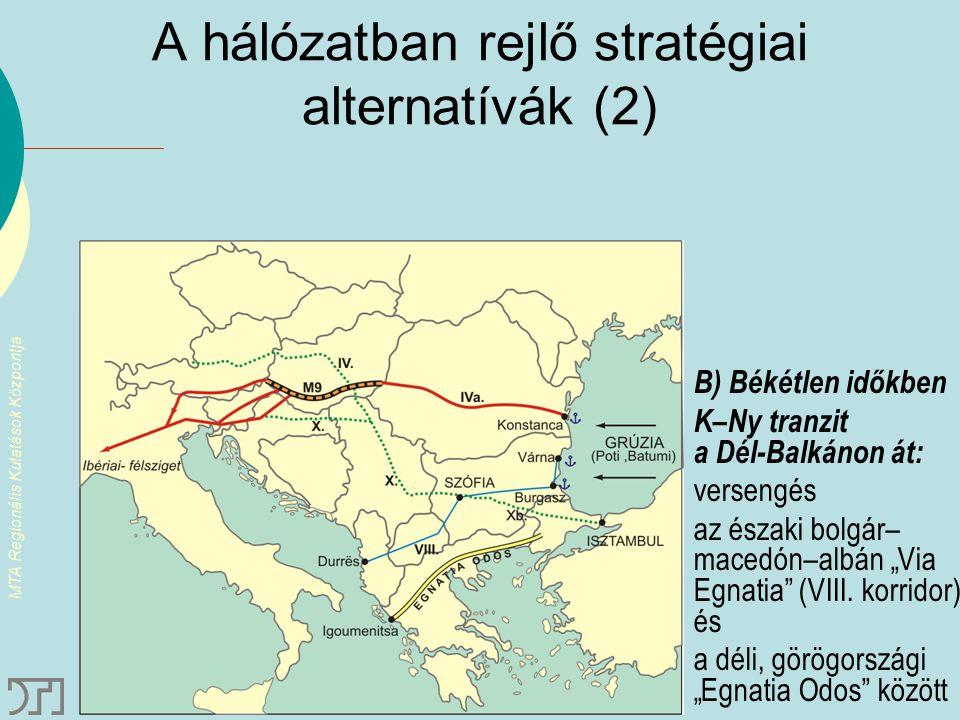 MTA Regionális Kutatások Központja A hálózatban rejlő stratégiai alternatívák (2) B) Békétlen időkben K–Ny tranzit a Dél-Balkánon át: versengés az ész