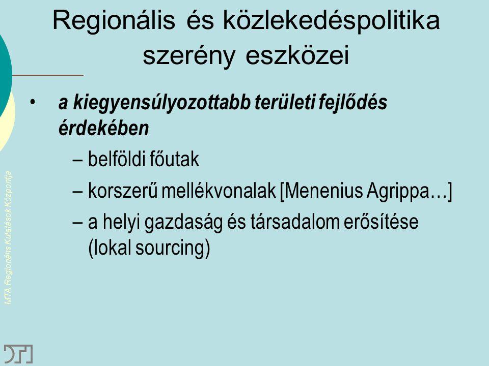 MTA Regionális Kutatások Központja Regionális és közlekedéspolitika szerény eszközei a kiegyensúlyozottabb területi fejlődés érdekében –belföldi főuta