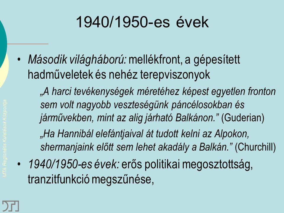 MTA Regionális Kutatások Központja 1970-es évek: TEM – Balkánon szétágazó autópálya-hálózat
