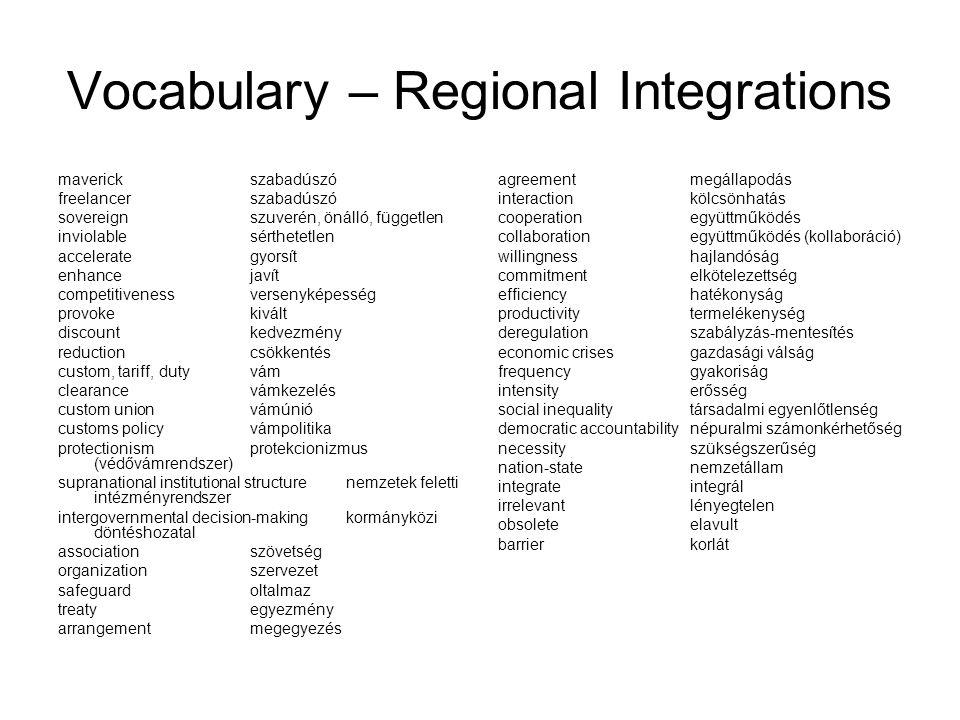 Vocabulary – Regional Integrations maverickszabadúszó freelancerszabadúszó sovereignszuverén, önálló, független inviolablesérthetetlen accelerategyors