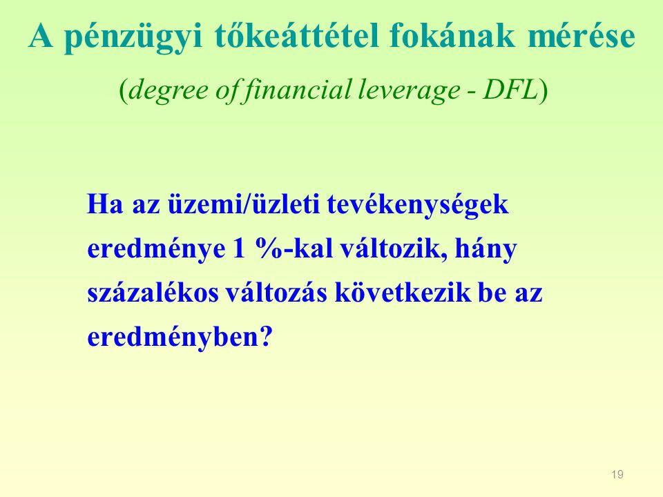 19 A pénzügyi tőkeáttétel fokának mérése Ha az üzemi/üzleti tevékenységek eredménye 1 %-kal változik, hány százalékos változás következik be az eredmé