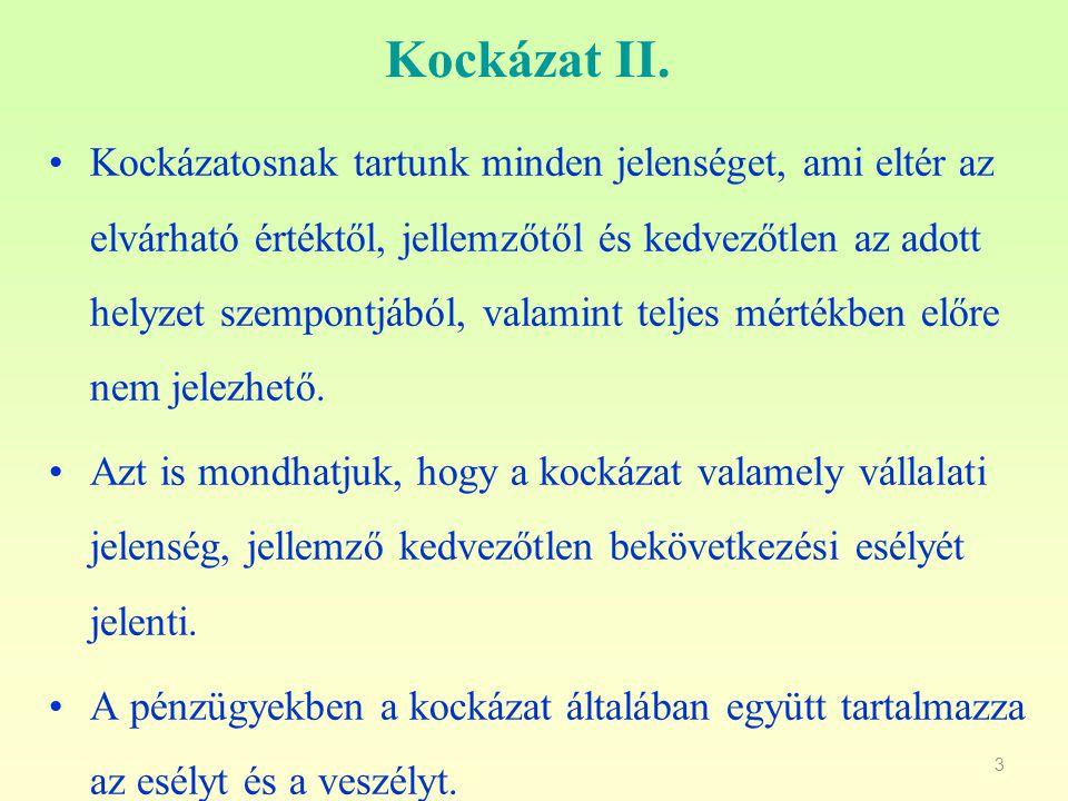 4 A kockázat III.