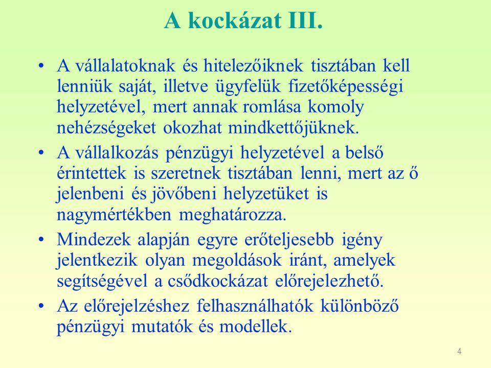 5 A kockázat IV.