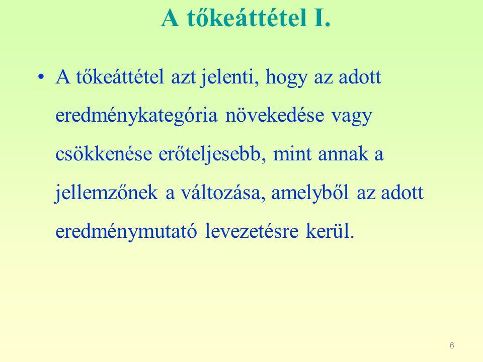 7 A tőkeáttétel II.