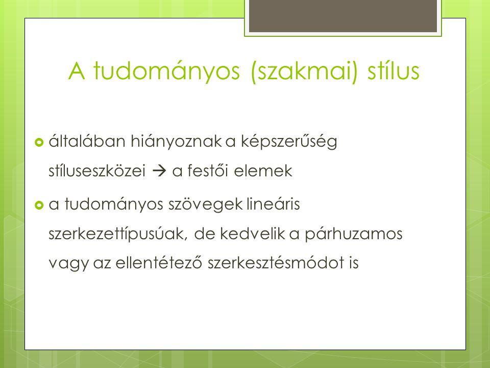 Az előadói stílus  A tudományos stílus beszélt nyelvi változatai közé tartozik az előadás.