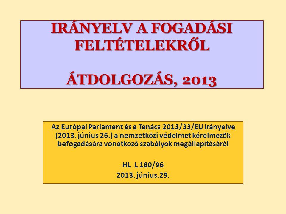 IRÁNYELV A FOGADÁSI FELTÉTELEKRŐL ÁTDOLGOZÁS, 2013 Az Európai Parlament és a Tanács 2013/33/EU irányelve (2013. június 26.) a nemzetközi védelmet kére