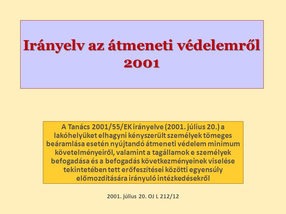 Irányelv az átmeneti védelemről 2001 A Tanács 2001/55/EK irányelve (2001. július 20.) a lakóhelyüket elhagyni kényszerült személyek tömeges beáramlása