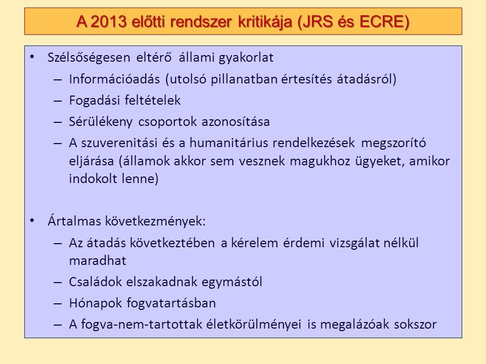 Szélsőségesen eltérő állami gyakorlat – Információadás (utolsó pillanatban értesítés átadásról) – Fogadási feltételek – Sérülékeny csoportok azonosítá