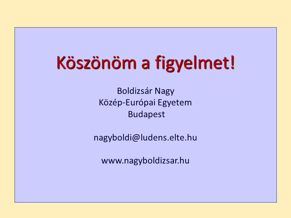 Köszönöm a figyelmet! Boldizsár Nagy Közép-Európai Egyetem Budapest nagyboldi@ludens.elte.hu www.nagyboldizsar.hu