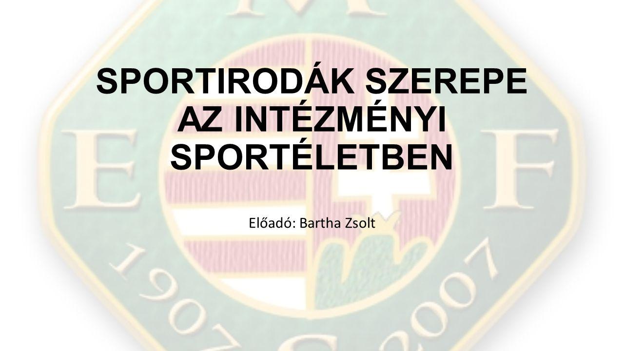 SPORTIRODÁK SZEREPE AZ INTÉZMÉNYI SPORTÉLETBEN Előadó: Bartha Zsolt
