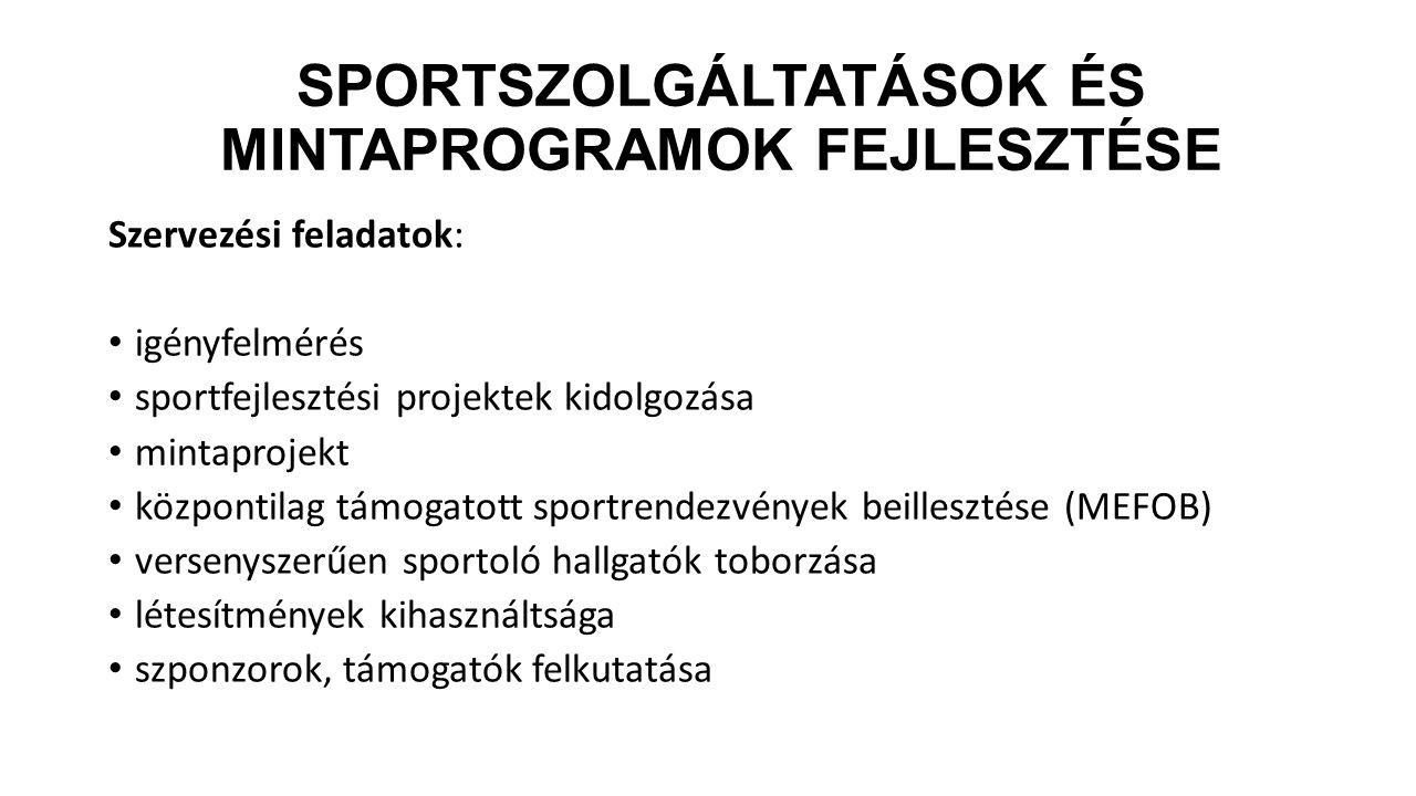 SPORTSZOLGÁLTATÁSOK ÉS MINTAPROGRAMOK FEJLESZTÉSE Szervezési feladatok: igényfelmérés sportfejlesztési projektek kidolgozása mintaprojekt központilag
