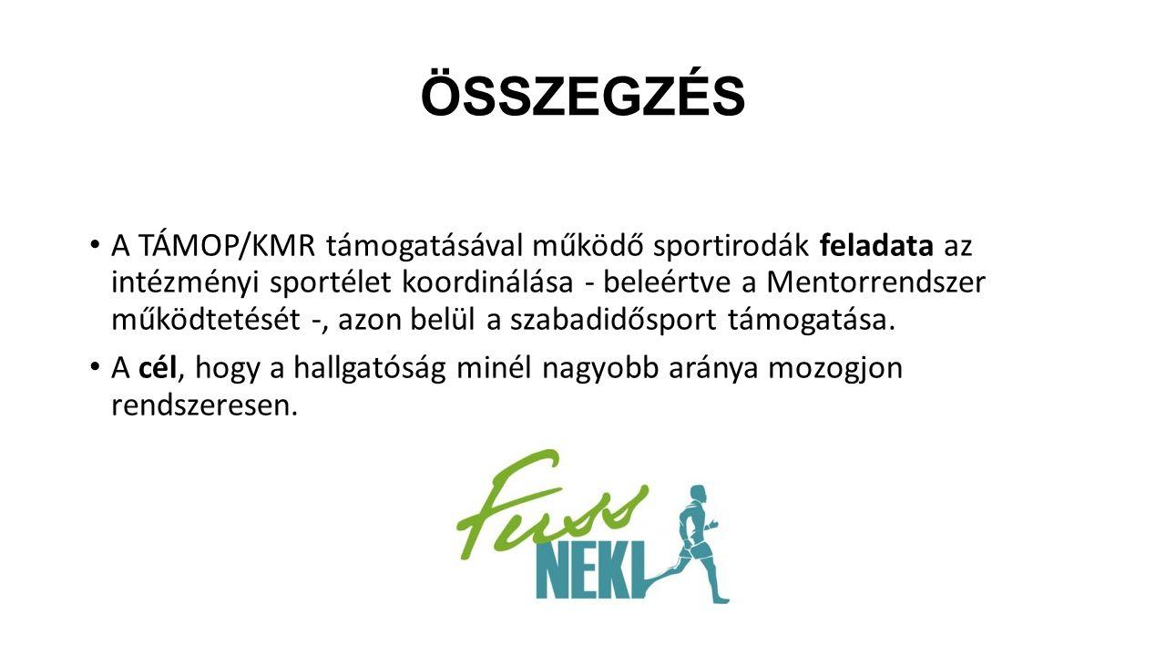 ÖSSZEGZÉS A TÁMOP/KMR támogatásával működő sportirodák feladata az intézményi sportélet koordinálása - beleértve a Mentorrendszer működtetését -, azon