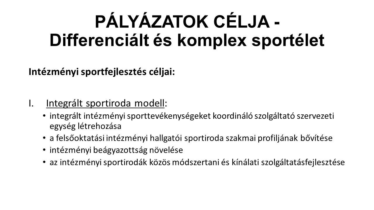 PÁLYÁZATOK CÉLJA - Differenciált és komplex sportélet Intézményi sportfejlesztés céljai: I.Integrált sportiroda modell: integrált intézményi sporttevé
