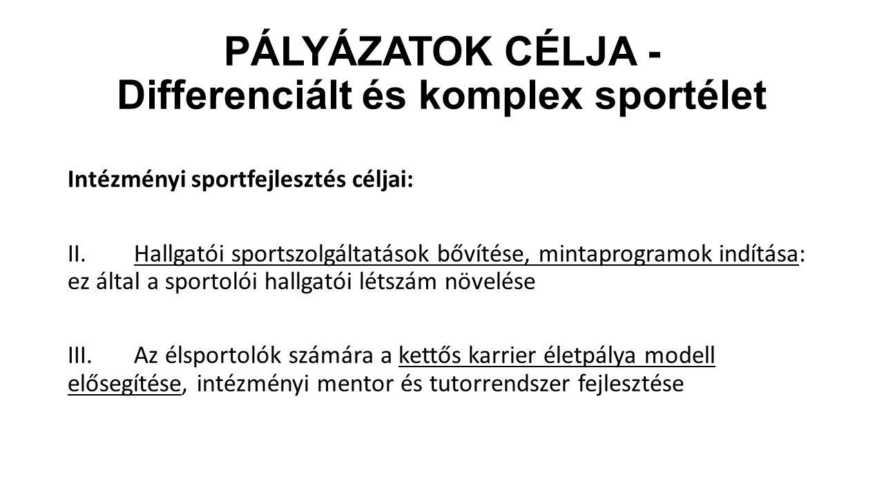PÁLYÁZATOK CÉLJA - Differenciált és komplex sportélet Intézményi sportfejlesztés céljai: II.Hallgatói sportszolgáltatások bővítése, mintaprogramok ind