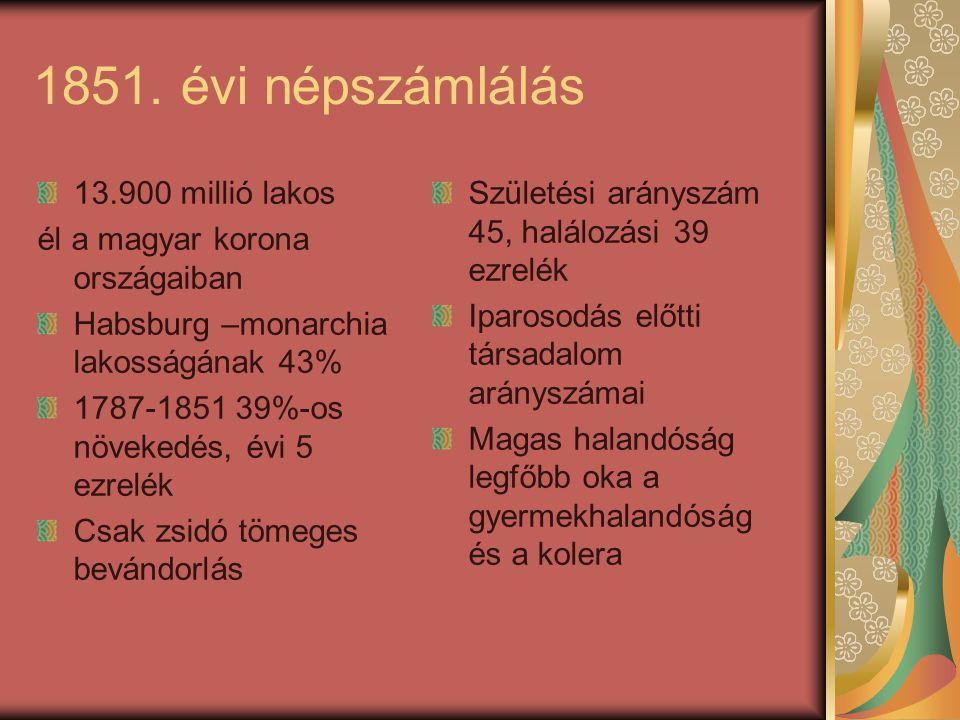 1851. évi népszámlálás 13.900 millió lakos él a magyar korona országaiban Habsburg –monarchia lakosságának 43% 1787-1851 39%-os növekedés, évi 5 ezrel