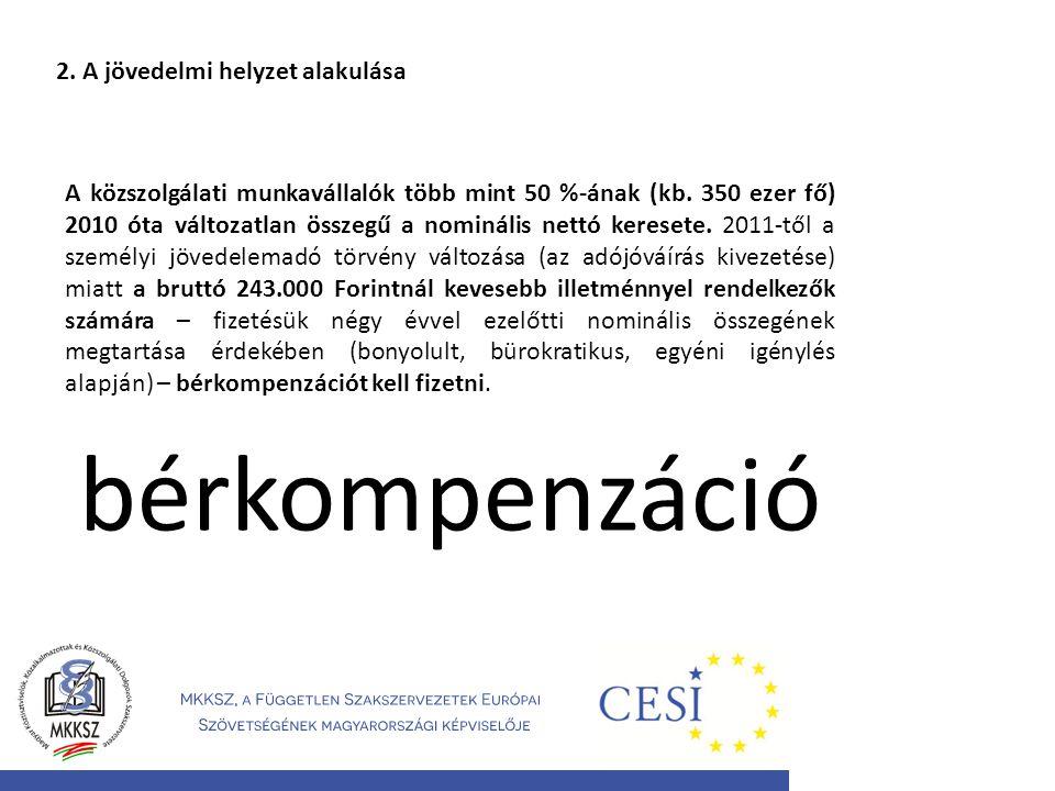 2. A jövedelmi helyzet alakulása A közszolgálati munkavállalók több mint 50 %-ának (kb. 350 ezer fő) 2010 óta változatlan összegű a nominális nettó ke