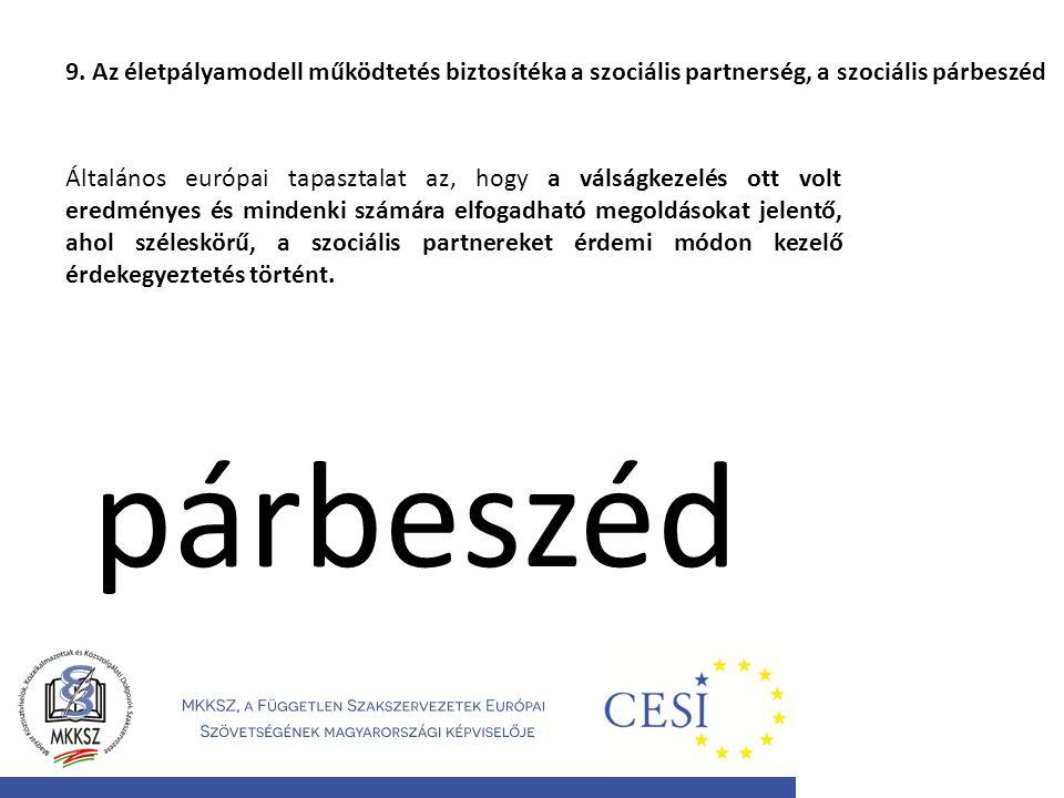 9. Az életpályamodell működtetés biztosítéka a szociális partnerség, a szociális párbeszéd Általános európai tapasztalat az, hogy a válságkezelés ott