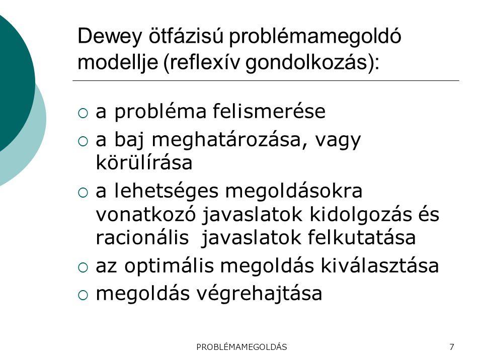 Dewey ötfázisú problémamegoldó modellje (reflexív gondolkozás):  a probléma felismerése  a baj meghatározása, vagy körülírása  a lehetséges megoldá