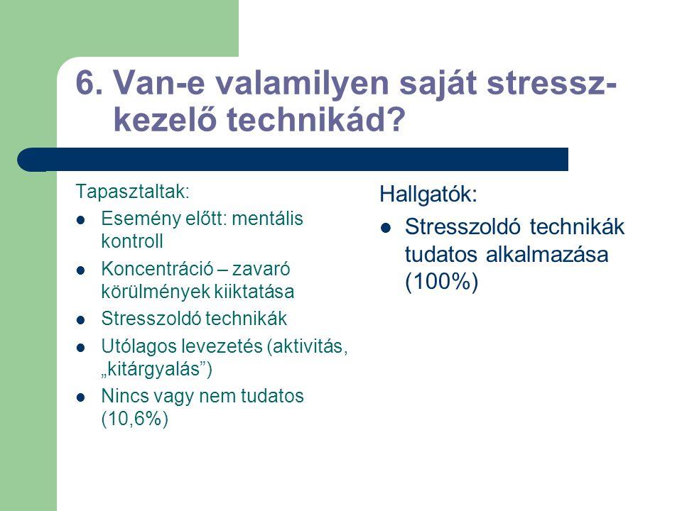 5. Változik-e a stressz a tolmácso- lás folyamán? A tolmácsélet folyamán jelentősen csökken. Egyetlen tolmácsolási munka közben azonban jelentősen vál