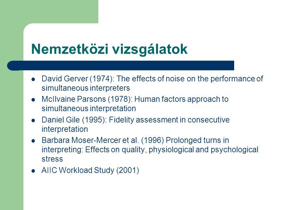 Nemzetközi vizsgálatok David Gerver (1974): The effects of noise on the performance of simultaneous interpreters McIlvaine Parsons (1978): Human factors approach to simultaneous interpretation Daniel Gile (1995): Fidelity assessment in consecutive interpretation Barbara Moser-Mercer et al.