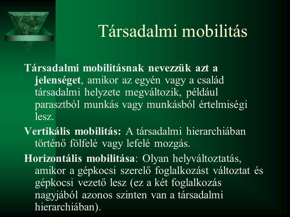 Társadalmi mobilitás Társadalmi mobilitásnak nevezzük azt a jelenséget, amikor az egyén vagy a család társadalmi helyzete megváltozik, például parasztból munkás vagy munkásból értelmiségi lesz.
