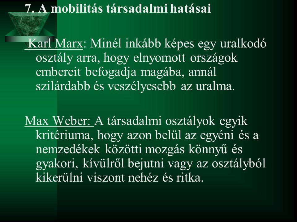 7. A mobilitás társadalmi hatásai Karl Marx: Minél inkább képes egy uralkodó osztály arra, hogy elnyomott országok embereit befogadja magába, annál sz