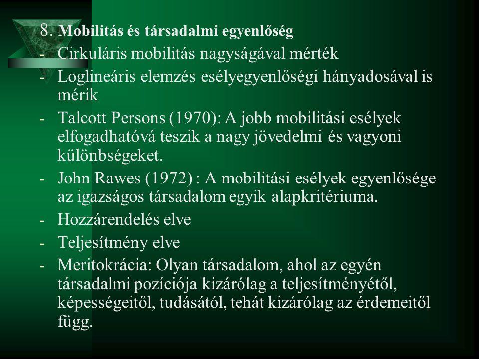 8. Mobilitás és társadalmi egyenlőség - Cirkuláris mobilitás nagyságával mérték - Loglineáris elemzés esélyegyenlőségi hányadosával is mérik - Talcott