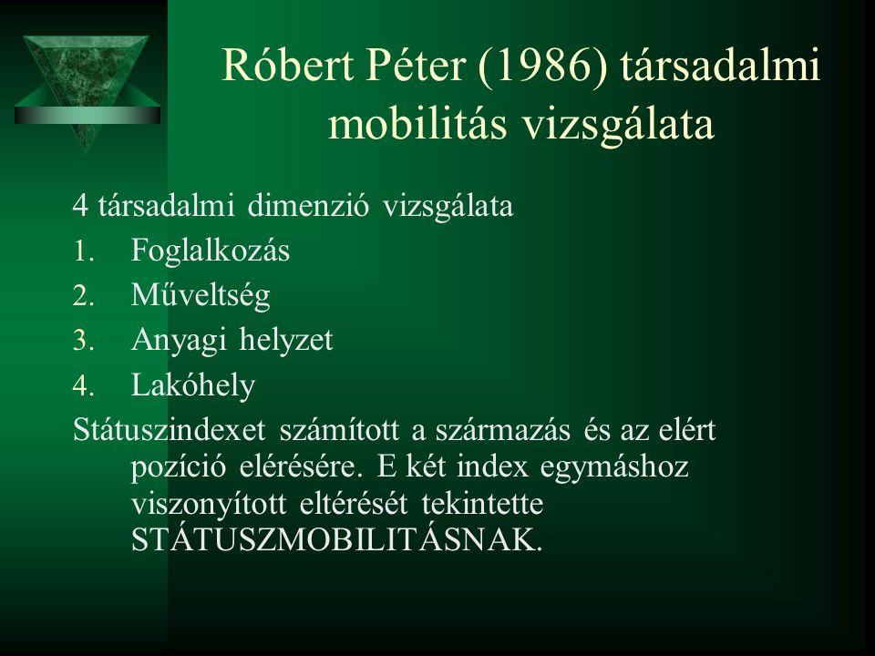 Róbert Péter (1986) társadalmi mobilitás vizsgálata 4 társadalmi dimenzió vizsgálata 1. Foglalkozás 2. Műveltség 3. Anyagi helyzet 4. Lakóhely Státusz
