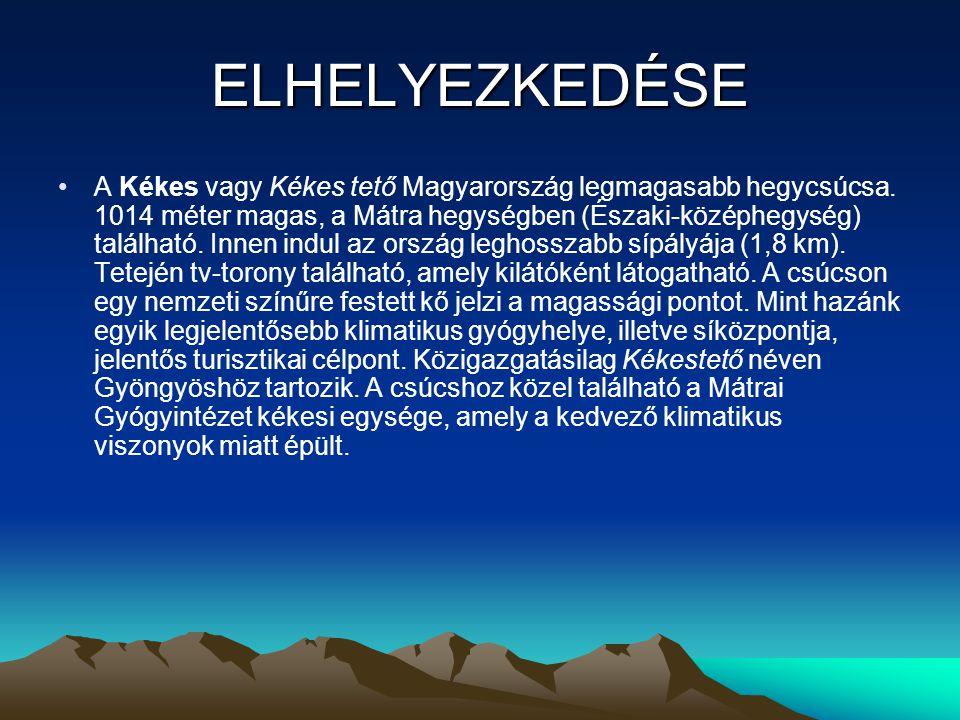 ELHELYEZKEDÉSE A Kékes vagy Kékes tető Magyarország legmagasabb hegycsúcsa. 1014 méter magas, a Mátra hegységben (Északi-középhegység) található. Inne