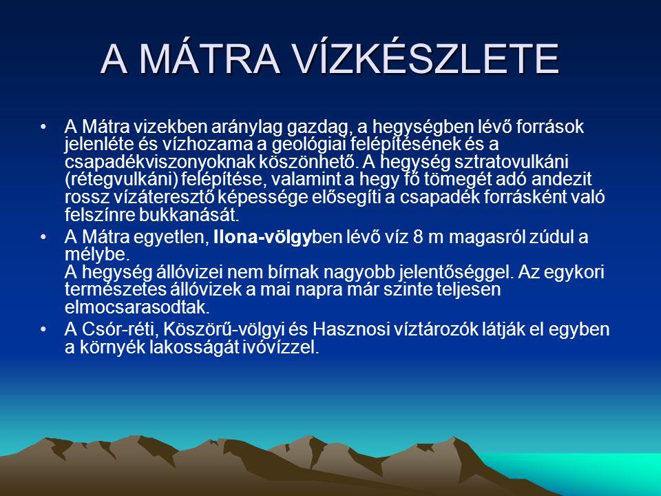A MÁTRA VÍZKÉSZLETE A Mátra vizekben aránylag gazdag, a hegységben lévő források jelenléte és vízhozama a geológiai felépítésének és a csapadékviszony
