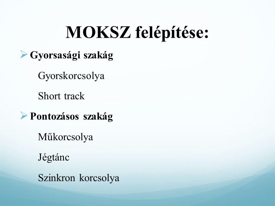 MOKSZ felépítése:  Gyorsasági szakág Gyorskorcsolya Short track  Pontozásos szakág Műkorcsolya Jégtánc Szinkron korcsolya