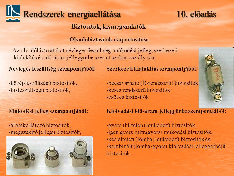 Rendszerek energiaellátása 10. előadás Biztosítok, kismegszakítók Olvadóbiztosítók csoportosítása Az olvadóbiztosítókat névleges feszültség, működési