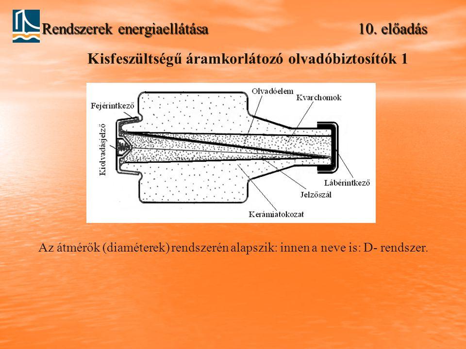 Rendszerek energiaellátása 10. előadás Kisfeszültségű áramkorlátozó olvadóbiztosítók 1 Az átmérők (diaméterek) rendszerén alapszik: innen a neve is: D