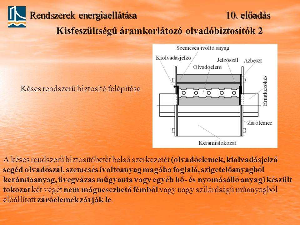 Rendszerek energiaellátása 10. előadás Kisfeszültségű áramkorlátozó olvadóbiztosítók 2 Késes rendszerű biztosító felépítése A késes rendszerű biztosít