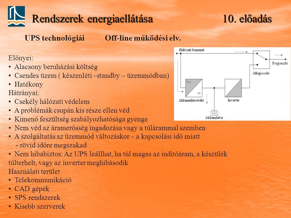 Rendszerek energiaellátása 10. előadás Off-line működési elv.UPS technológiái Előnyei: Alacsony beruházási költség Csendes üzem ( készenléti –standby