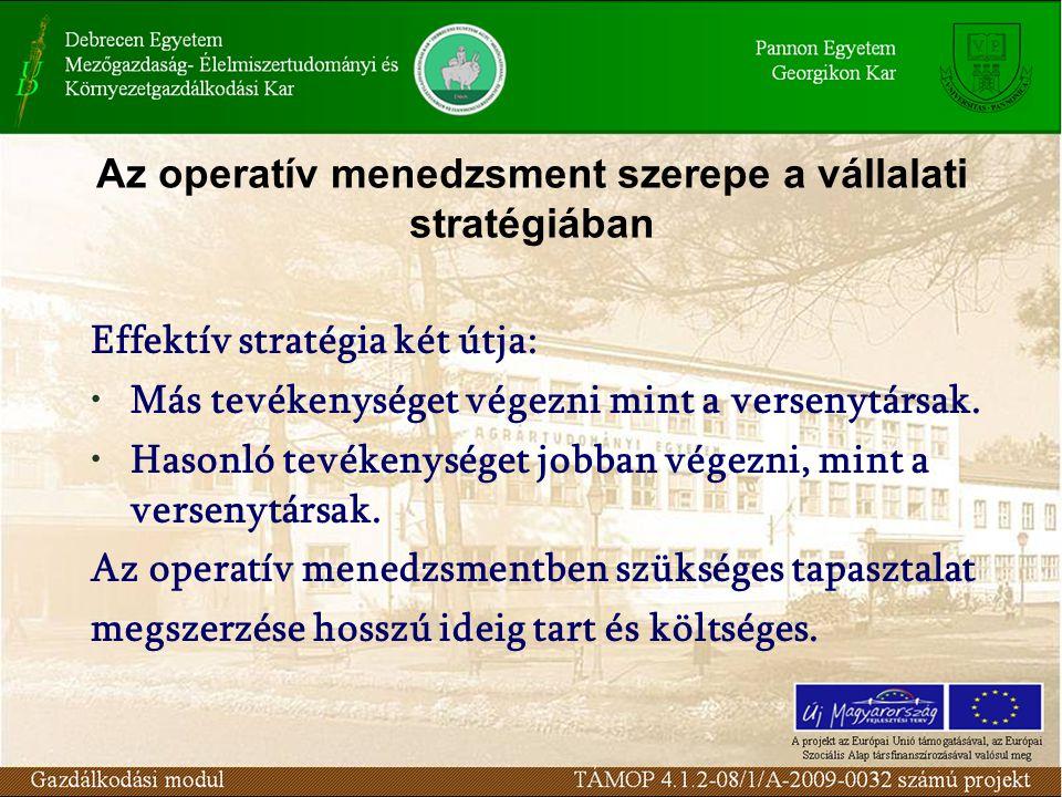 Az operatív menedzsment szerepe a vállalati stratégiában Effektív stratégia két útja: Más tevékenységet végezni mint a versenytársak. Hasonló tevékeny