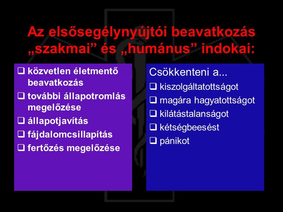 """Az elsősegélynyújtói beavatkozás """"szakmai"""" és """"humánus"""" indokai:  közvetlen életmentő beavatkozás  további állapotromlás megelőzése  állapotjavítás"""