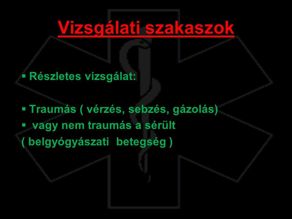 Vizsgálati szakaszok  Részletes vizsgálat:  Traumás ( vérzés, sebzés, gázolás)  vagy nem traumás a sérült ( belgyógyászati betegség ) 08:30