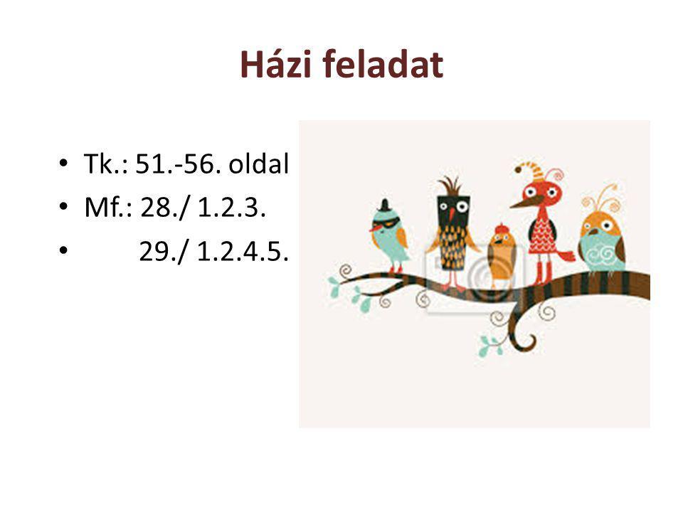 Házi feladat Tk.: 51.-56. oldal Mf.: 28./ 1.2.3. 29./ 1.2.4.5.