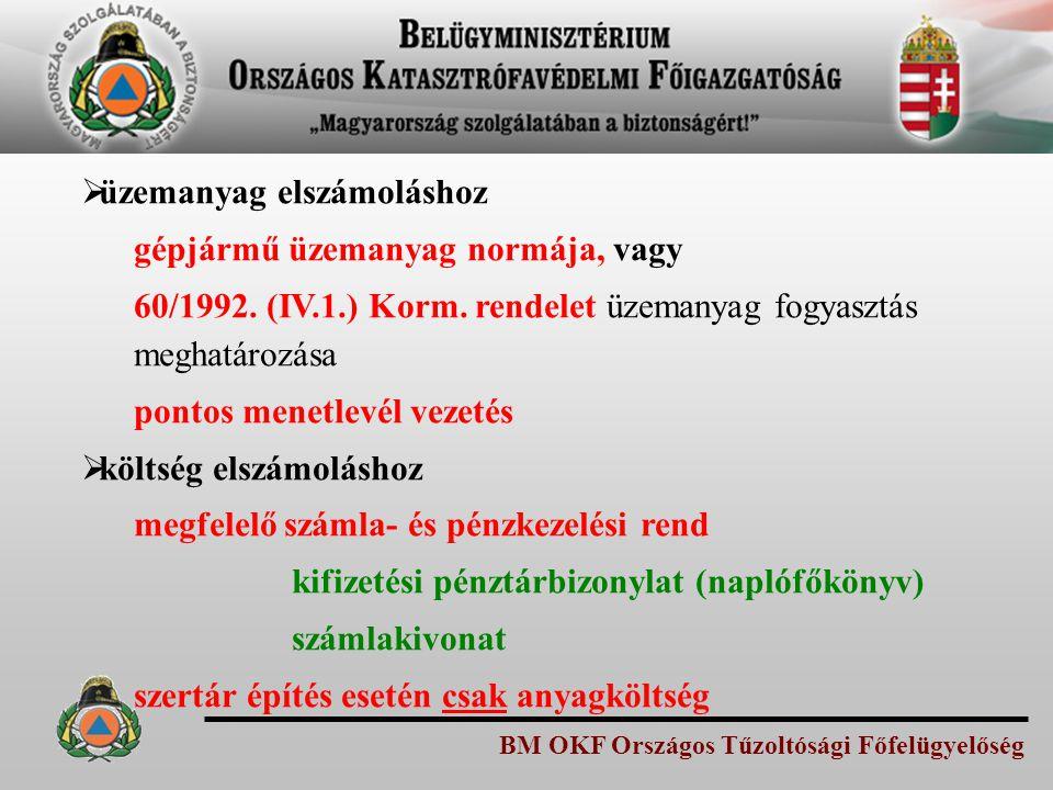 BM OKF Országos Tűzoltósági Főfelügyelőség  üzemanyag elszámoláshoz gépjármű üzemanyag normája, vagy 60/1992. (IV.1.) Korm. rendelet üzemanyag fogyas