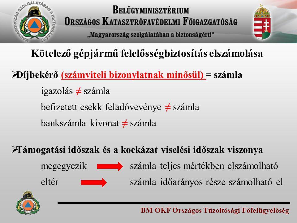 BM OKF Országos Tűzoltósági Főfelügyelőség Kötelező gépjármű felelősségbiztosítás elszámolása  Díjbekérő (számviteli bizonylatnak minősül) = számla i