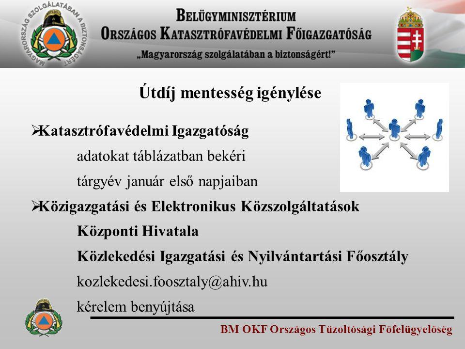 BM OKF Országos Tűzoltósági Főfelügyelőség Útdíj mentesség igénylése  Katasztrófavédelmi Igazgatóság adatokat táblázatban bekéri tárgyév január első