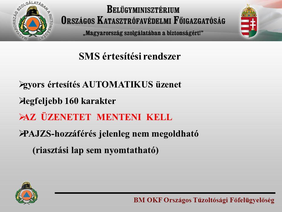 BM OKF Országos Tűzoltósági Főfelügyelőség SMS értesítési rendszer  gyors értesítés AUTOMATIKUS üzenet  legfeljebb 160 karakter  AZ ÜZENETET MENTEN