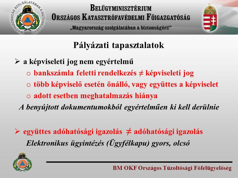 BM OKF Országos Tűzoltósági Főfelügyelőség Pályázati tapasztalatok  a képviseleti jog nem egyértelmű o bankszámla feletti rendelkezés ≠ képviseleti j