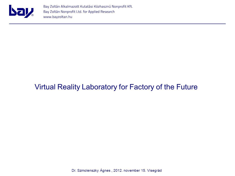 Virtual Reality Laboratory for Factory of the Future Pályázati forma: HUSK CBC LP Bay Zoltán Alkalmazott Közhasznú Nonprofit Kft.
