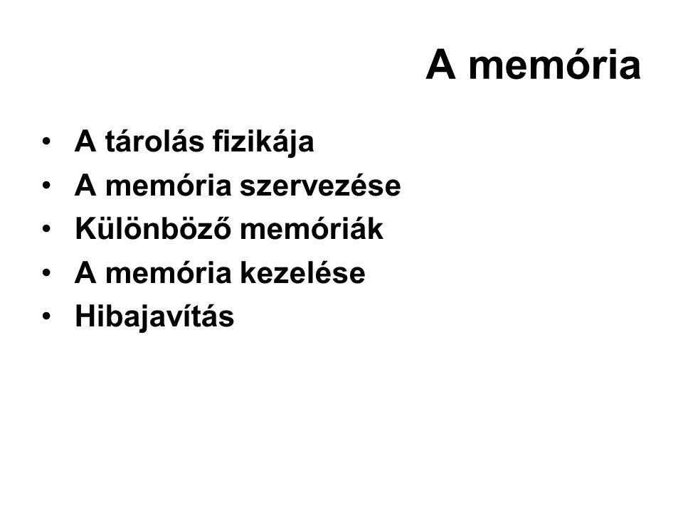A memória A tárolás fizikája A memória szervezése Különböző memóriák A memória kezelése Hibajavítás